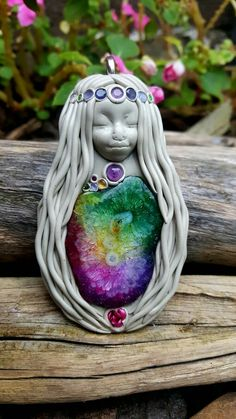 Mahalia crystal clay goddess pendant in solar dyed quartz handcrafted by Wakee's Wares on facebook ✌