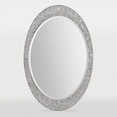 Sirens Brushed Nickel Oval Beveled Mirror With Stainless Steel Frame