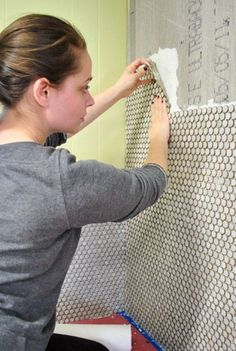Great Directions on How To Install Penny Tile (And Lots Of It) | Young House Love http://www.younghouselove.com/2012/01/how-to-install-penny-tile-and-lots-of-it/