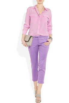 Probably can't wear it (should try and see though) but the colours are gorgeous. Equipment shirt, Gucci pants
