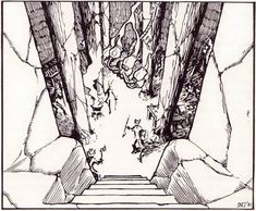 """oldschoolfrp: """"Dungeon stairs by Erol Otus, from AD&D module Secret of the Slavers Stockade, TSR, """" Dungeons And Dragons Modules, Dungeons And Dragons Board, Advanced Dungeons And Dragons, Pen And Paper Games, Classic Rpg, Nostalgia Art, Rpg World, Dream Fantasy, Dnd Art"""