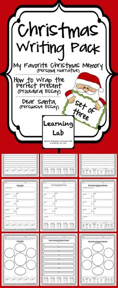 This Christmas writing pack contains three sets of Christmas writing assignments. Choose one to use, or use one each week of school in December. Each set includes a brainstorming sheet, a graphic organizer, and a final copy writing paper. The Christmas writing assignments include: * My Favorite Christmas Memory (Personal Narrative) * How to Wrap the Perfect Present (Procedural Essay) * Dear Santa, (Persuasive Essay)