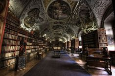 The sumptuous arched ceilings of the Strahov Theological Hall in Prague