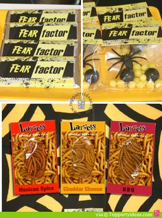 Fear Factor Party Favors - Candy bar wrappers, candy favor topper, and edible worms