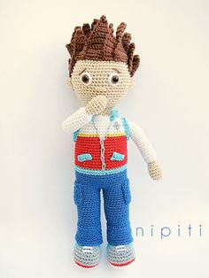Crochet Toys For Boys Ryder (Paw patrol) amigurumi crochet pattern by nipiti Ryder Paw Patrol, Paw Patrol Toys, Crochet Toys Patterns, Amigurumi Patterns, Stuffed Toys Patterns, Amigurumi Doll, Crochet For Boys, Cute Crochet, Knitted Dolls