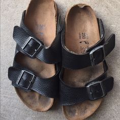 Sandals Good shape except the edges in the back.  Birks black perfect bottom, no longer use. Birkenstock Shoes Sandals