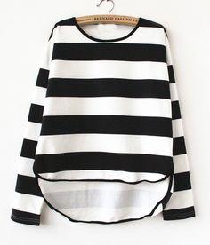 Black White Striped Long Sleeve Asymmetric Sweatshirt