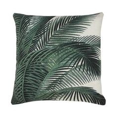 Add a tropical vibe to any room with this on-trend Green Palm Tree Print Cushion from Bahne! This stylish cushion features a vivid green palm tree Printed Cushions, Scatter Cushions, Throw Pillows, Pink Cushions, Accent Pillows, Decoration Design, Deco Design, Leaf Images, Palm Fronds