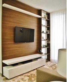 Inspiração De Móvel Para A TV. Como A Sala é Pequena Foi Projetado Um Móvel