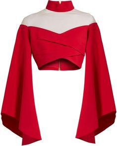 a21e918dc88e0 Balmain High-neck tulle-insert cropped top Bluze Sifon, Design Bluze, Bluze