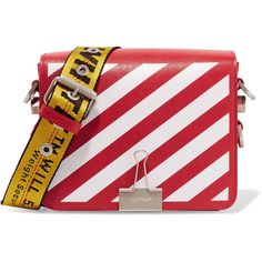 Off-White Striped textured-leather shoulder bag (€995) ❤ liked on Polyvore featuring bags, handbags, shoulder bags, red, cocktail purse, red shoulder bag, red handbags, shoulder strap handbags and red purse