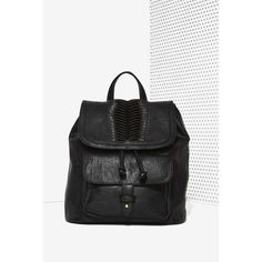 Drawn to You Drawstring Backpack ($68) ❤ liked on Polyvore featuring bags, backpacks, black, black flap backpack, nila anthony backpack, backpacks bags, flap bag and drawstring bag