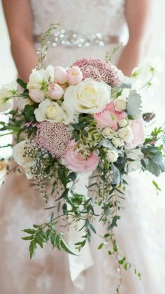 Hottest 7 Spring Wedding Flowers--pink roses, baby breath and white ranunculuses bridal bouquets for outdoor wedding ceremony, wedding reception ideas, wedding flowers. flowers pink Hottest 7 Spring Wedding Flowers to Rock Your Big Day Cascading Wedding Bouquets, Bridal Flowers, Floral Wedding, Wedding Colors, Trendy Wedding, Flower Bouquets, Perfect Wedding, Bridesmaid Bouquets, Tulip Bouquet Wedding