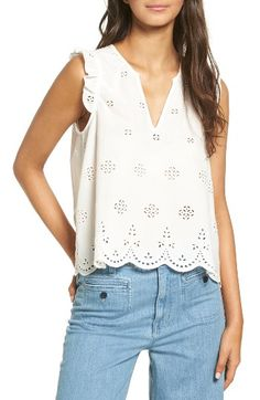Free shipping and returns on Madewell Eyelet Garden Sleeveless Top at Nordstrom.com. Ruffles at the shoulders and scallops at the hem are like icing on the cake for a breezy, eyelet-embroidered cotton tank.