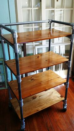kitchen cart rack shelves reclaimed wood by HammerHeadCreations