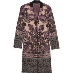 Etro Paisley jacquard-knit cardigan (1 703 AUD) ❤ liked on Polyvore featuring tops, cardigans, purple, knit top, purple cardigan, geometric print cardigan, multi color cardigan and purple top