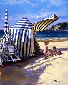 On the Beach by Ricardo Sanz - La Concha in Donostia - Basque Country (spain) Spanish Painters, Spanish Artists, Anime Comics, Art Plage, Beach Cabana, Spanish Royal Family, Beach Scenes, Beautiful Paintings, Beach Paintings