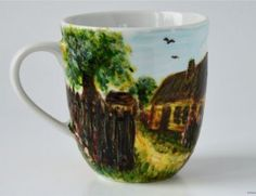 Kubek Wiejski Domek Handmade painted mug cup