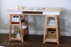 Build your own sawhorse storage leg desk - free plans from ANA-WHITE.com Attach leg sets together to create the sawhorse frame. Room: CraftroomKids and ToysofficeTeens Skill Level: IntermediateP