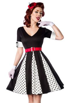 82349268e2b2 Ginger 50s V-Neck Dress in Black with White and Black Dot Pleat Inserts