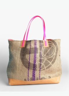 one-of-a-kind tote bags handmade from recycled burlap coffee bean bags.