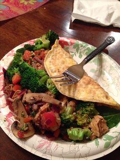 Fast Metabolism Diet Phase 2:  Egg White Crepe, Blackened Chicken, Veggies Steamed in Blackened Chicken Broth