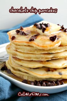 Light, fluffy, and super easy homemade Chocolate chip Pancakes are the most delicious breakfast treat. #pancakes #breakfast #recipe #homemade #fromscratch #chocolatechip Homemade Chocolate Chips, Chocolate Chip Pancakes, Homemade Snickers, Sweet Breakfast, Breakfast Cake, Breakfast Meals, Vegetarian Breakfast, Waffle Recipes, Top Recipes