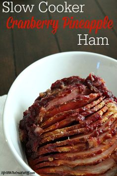Slow Cooker Cranberry Pineapple Ham is the perfect holiday ham! Festive flavors and it cooks up beautifully in the slow cooker! Pork Recipes, Slow Cooker Recipes, Crockpot Recipes, Cooking Recipes, Casserole Recipes, Pasta Recipes, Recipes Dinner, Potato Recipes, Chicken Recipes