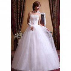 $43.96 Graceful Sweetheart Neckline Beading and Rhinestone Embellished Zipper Up Wedding Dress For Bride