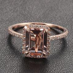 Solid 14k Rose Gold Emerald Morganite 26ct Diamond Engagement Ring | - 350