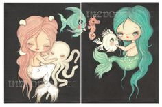 Mermaid Print SetNautical Girl Octopus Nap Fish by thepoppytree