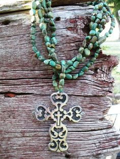 Turquoise & Pewter Cross Necklace