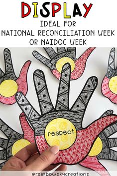 Our Indigenous Hands display is a perfect tribute for NAIDOC Week and/or National Reconciliation Week pack. Provide each student with a hand to design and decorate to be part of a collaborative art piece. The aim of the display is to acknowledge the history and traditions of the Aboriginal and Torre Strait islanders. #rainbowskycreations Year 1 Classroom, Primary Classroom, Primary School, School Resources, Teaching Resources, Teaching Ideas, Library Displays, Classroom Displays, Naidoc Week Activities