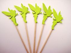 24 Green Tinkerbell Party Picks  Cupcake by ThePrettyPaperShop, $3.99