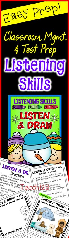 """Winter themed listening skills activities called """"Listen and Draw"""" are included in this latest edition. Listening skills are so important! Before you can effectively teach procedures and academic skills, your students need to listen and attend to what you are saying.   You can differentiate this activity.  These are great for Friday Fun Days, add them to your sub plans, and perfect for RTI to document listening skills. paid"""