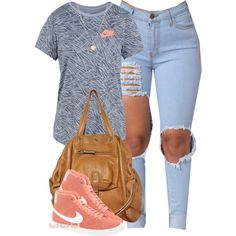 You don't want no problems, want no problems with me, bih! by cheerstostyle on Polyvore featuring NIKE, Jérôme Dreyfuss, New Look and Laura Lee