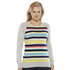 aae35df1dcd02b CHAPS Crew Multi Striped Long Sleeve Knit Pullover Sweater Petites Size PL  NWT