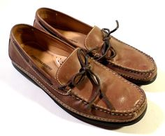 Mens Size 9.5 Johnston & Murphy Brown SHeepskin Leather Driving Mocs, Loafers
