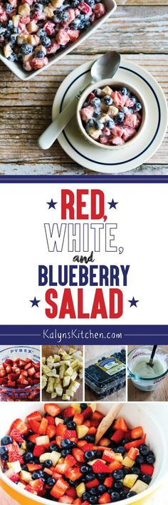 Red, White, and Blue Salad with Blueberries, Strawberries, and Bananas is perfect for all the patriotic holidays of summer. I use low-carb yogurt in the dressing for slightly less carbs, but use any yogurt you prefer if you don't care about that. [found on KalynsKitchen.com]: