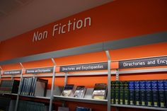 Wayfinding and Typographic Signs - non-fiction-library-signage Library Signage, City Library, College Library, Library Design, Library Ideas, Directional Signage, Wayfinding Signage, Store Window Displays, Library Displays