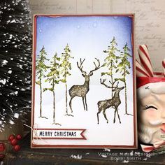 Vintage Muse: Great Outdoors Merry Christmas Card... Christmas Cards 2017, Merry Christmas Card, Xmas Cards, Simple Christmas, Winter Christmas, Vintage Christmas, Tim Holtz Stamps, Winter Karten, Winter Cards
