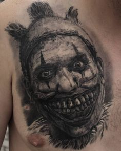 Twisty the Clown from American Horror Story, black and grey tattoo by Michel Schwarzenberger Halloween Horror Movies, Scary Movies, Movie Tattoos, Black And Grey Tattoos, American Horror, Piercings, Cover, Ideas, Art