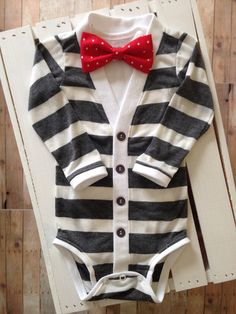 Baby Cardigan Onesie: Gray and Ivory Stripe with Interchangeable Tie Shirt and Bow Tie on Etsy, $35.00