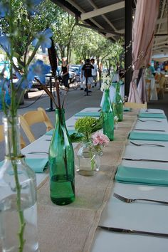 Wine Bottle Centerpieces (the way they are spaced)
