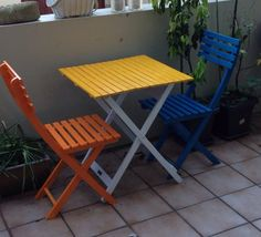 Outdoor chairs I painted for the garden