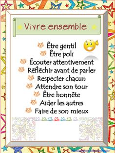 affichage vivre ensemble affichage vivre ensemble : turn into a small book with drawings of how to do each thing French Teaching Resources, Teaching French, Teaching Tools, Behaviour Management, Classroom Management, Class Management, French Education, Core French, French Teacher