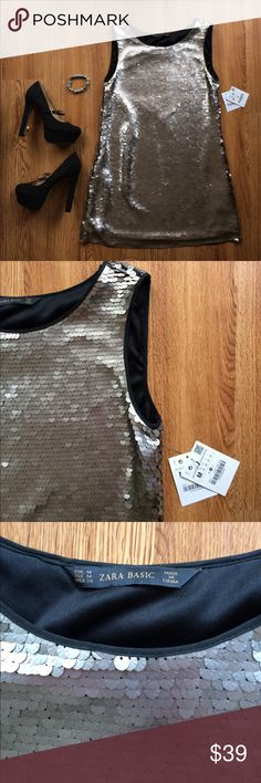 "Zara sequin dress shift scoop neck platinum M Zara Basic sequin dress scoop neck platinum. Synthetic knit lining with stretch. Bust 35"" with stretch shoulder to hem 31"" Size M Zara Dresses Mini"