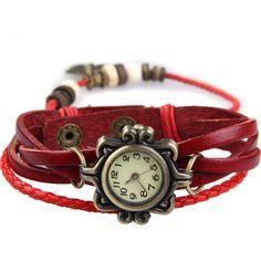 Antique Leather Bracelet Watch Vintage Women Wrist Watch Butterfly Pendant Synthetic Leather Strap dress Watch Relogio Feminino