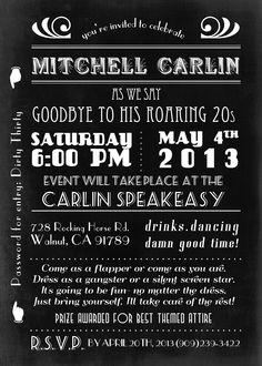 Roaring 20's party invitation http://www.etsy.com/shop/MTipsy