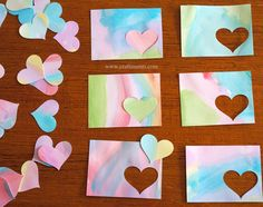 DIY valentines from children's watercolor art